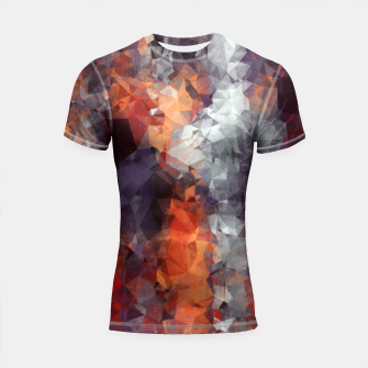 Miniature de image de psychedelic geometric polygon shape pattern abstract in orange brown red black Shortsleeve Rashguard, Live Heroes
