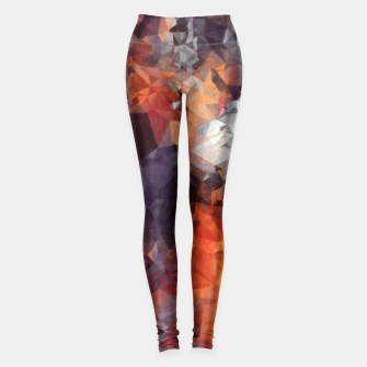 psychedelic geometric polygon shape pattern abstract in orange brown red black Leggings Bild der Miniatur