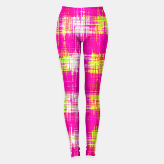Miniature de image de plaid pattern graffiti painting abstract in pink and yellow Leggings, Live Heroes