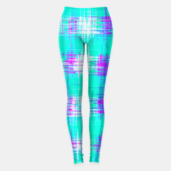 Miniature de image de plaid pattern graffiti painting abstract in blue green and pink Leggings, Live Heroes