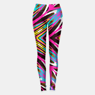Miniature de image de psychedelic geometric graffiti abstract pattern in pink blue yellow brown Leggings, Live Heroes