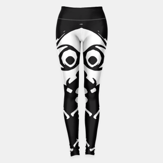 Miniature de image de old skinny skull and bone with glasses in black and white Leggings, Live Heroes
