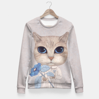 Thumbnail image of Cat with a Blue Fower Fitted Waist Sweater, Live Heroes
