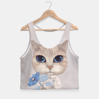 Miniatur Cat with a Blue Fower Crop Top, Live Heroes