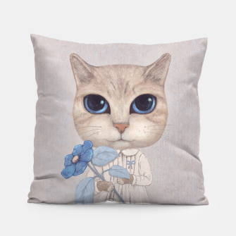 Miniatur Cat with a Blue Fower Pillow, Live Heroes