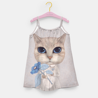 Miniatur Cat with a Blue Fower Girl's Dress, Live Heroes
