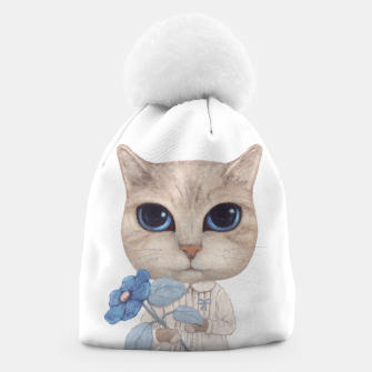 Miniaturka Cat with a Blue Fower Beanie, Live Heroes