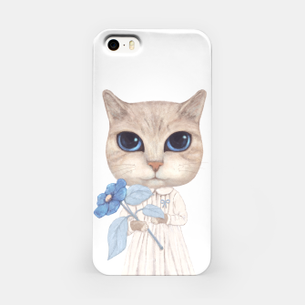 Miniatur Cat with a Blue Fower iPhone Case, Live Heroes