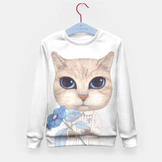 Miniatur Cat with a Blue Fower Kid's Sweater, Live Heroes
