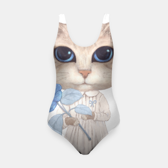 Miniatur Cat with a Blue Fower Swimsuit, Live Heroes