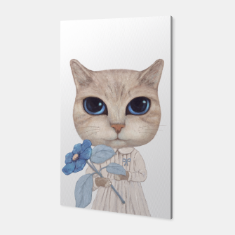 Miniatur Cat with a Blue Fower Canvas, Live Heroes