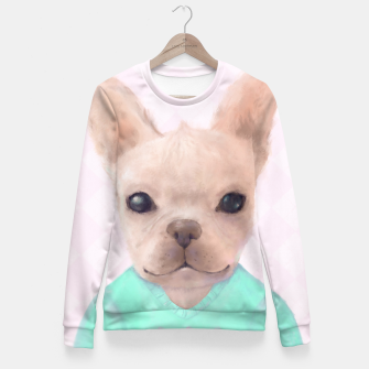 Miniatur French Bull Dog Fitted Waist Sweater, Live Heroes