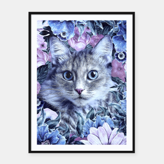 Miniatur Cat In Flowers. Winter Framed poster, Live Heroes