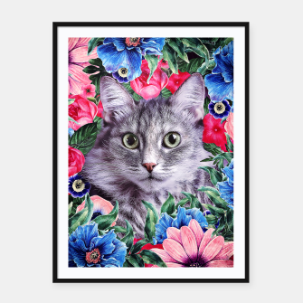 Miniatur Cat In Flowers. Summer Framed poster, Live Heroes