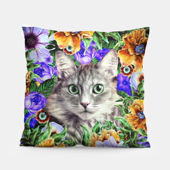 Miniatur Cat In Flowers. Spring Pillow, Live Heroes