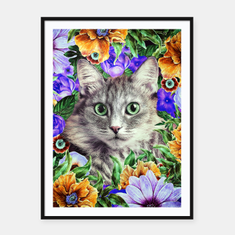 Miniatur Cat In Flowers. Spring Framed poster, Live Heroes