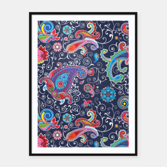 Miniatur Boho pattern. Paisley pattern. Boho chic. Traditional flower illustration chic blue pattern Framed poster, Live Heroes