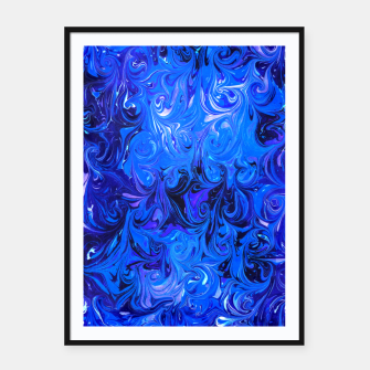 Miniatur Ebru pattern. Abstract blue watercolor design Framed poster, Live Heroes