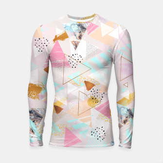 Thumbnail image of Abstract geometric textures and marble Longsleeve Rashguard, Live Heroes