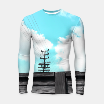 Thumbnail image of electric pole with wooden wall and cloudy blue sky in summer Longsleeve Rashguard , Live Heroes