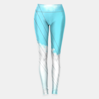 Thumbnail image of electric pole with wooden wall and cloudy blue sky in summer Leggings, Live Heroes