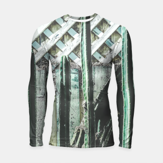Thumbnail image of cactus with green and white wooden fence background Longsleeve Rashguard , Live Heroes