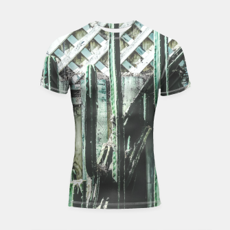 Thumbnail image of cactus with green and white wooden fence background Shortsleeve Rashguard, Live Heroes
