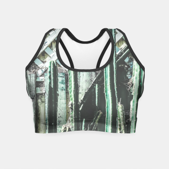 Thumbnail image of cactus with green and white wooden fence background Crop Top, Live Heroes