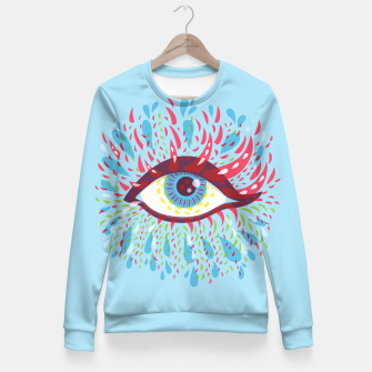 Thumbnail image of Abstract Blue Psychedelic Eye Fitted Waist Sweater, Live Heroes