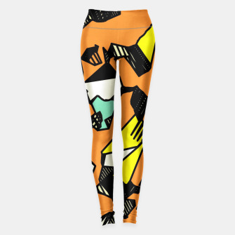 Miniaturka grunge geometric graffiti drawing and painting abstract in brown yellow and black Leggings, Live Heroes