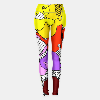 Miniaturka geometric graffiti drawing and painting abstract in orange red yellow purple brown and blue Leggings, Live Heroes