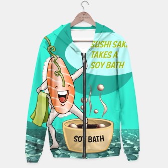 Miniatur Sushi Sake takes a Soy Bath (poster version) Hoodie, Live Heroes