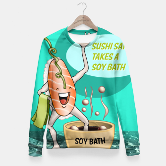 Miniatur Sushi Sake takes a Soy Bath (poster version) Fitted Waist Sweater, Live Heroes