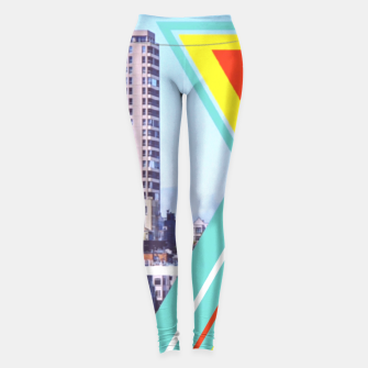 Miniaturka buildings in the city with colorful triangle shape and blue sky Leggings, Live Heroes