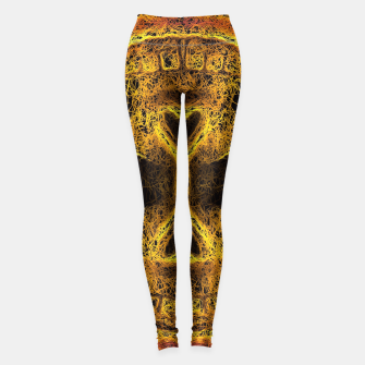 Miniaturka psychedelic geometric graffiti painting golden skull head portrait with pink background Leggings, Live Heroes