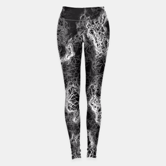 Miniaturka psychedelic camouflage graffiti geometric drawing abstract in black and white Leggings, Live Heroes