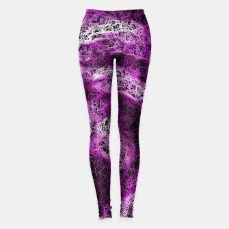 Miniaturka vintage psychedelic geometric painting abstract in pink purple white and black Leggings, Live Heroes