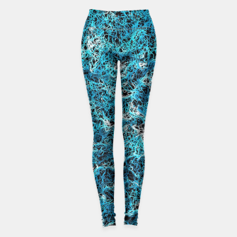 Miniaturka vintage psychedelic geometric drawing abstract in blue white and black Leggings, Live Heroes
