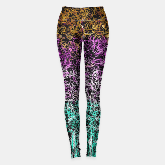 Miniaturka psychedelic graffiti geometric drawing abstract in purple pink brown green and black Leggings, Live Heroes