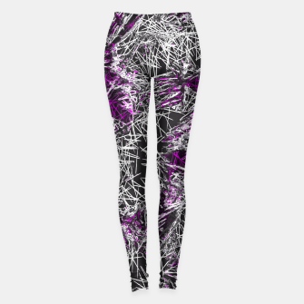 Miniaturka psychedelic graffiti geometric sketching abstract in pink purple black and white Leggings, Live Heroes
