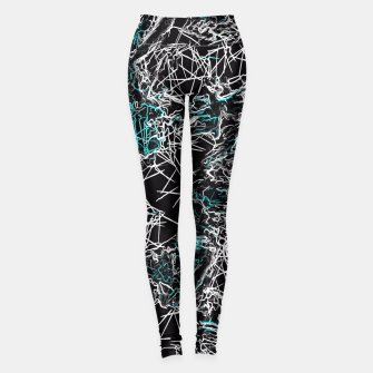 Miniaturka psychedelic graffiti geometric drawing abstract in blue black and white Leggings, Live Heroes