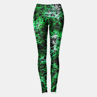 Miniaturka psychedelic graffiti geometric drawing abstract in green black and white Leggings, Live Heroes
