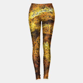 Miniaturka psychedelic graffiti geometric camouflage painting abstract in brown yellow and black Leggings, Live Heroes