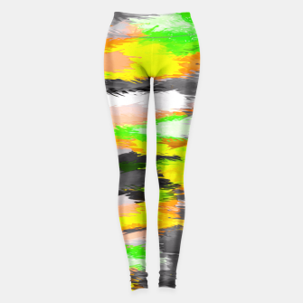 Miniaturka psychedelic graffiti camouflage splash painting abstract in orange green yellow and black Leggings, Live Heroes