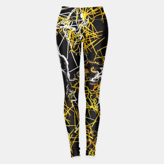 Miniaturka psychedelic geometric graffiti sketching line pattern abstract in yellow black and white Leggings, Live Heroes