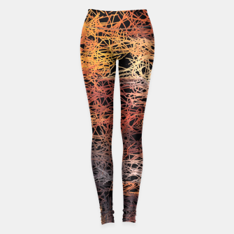 Miniaturka psychedelic graffiti camouflage sketching abstract pattern in brown orange and black Leggings, Live Heroes