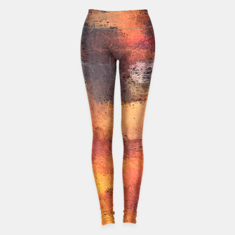 Miniaturka psychedelic camouflage graffiti painting abstract pattern in brown orange and black Leggings, Live Heroes