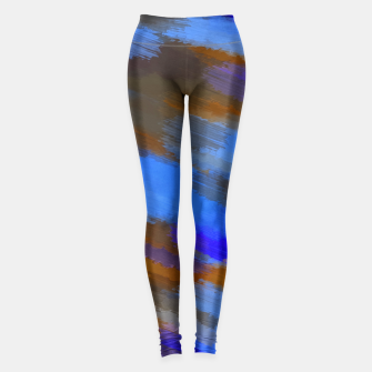 Miniaturka camouflage graffiti splash painting abstract in blue brown and dark blue Leggings, Live Heroes