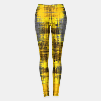 Miniaturka geometric graffiti plaid pattern painting abstract in yellow brown and black Leggings, Live Heroes