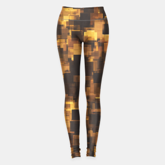 Miniaturka vintage geometric pixel square pattern abstract in brown and black Leggings, Live Heroes
